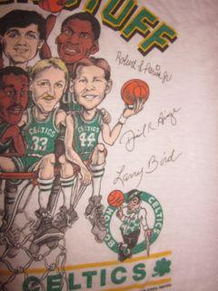 Vintage Boston Celtics Green STuff T-shirt Larry Bird 1980s
