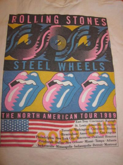 Vintage Rolling Stones 1989 T-shirt Steel Wheels Tour