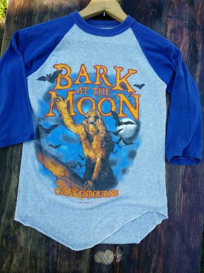 Ozzy Osbourne 1982 baseball tee shirt Bark at the moon