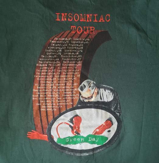 Green Day- Insomniac 1996 Tour Shirt