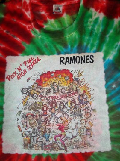 RAMONES 80s TOUR CONCERT ROCK N ROLL HIGH SCHOOL TIE DYE