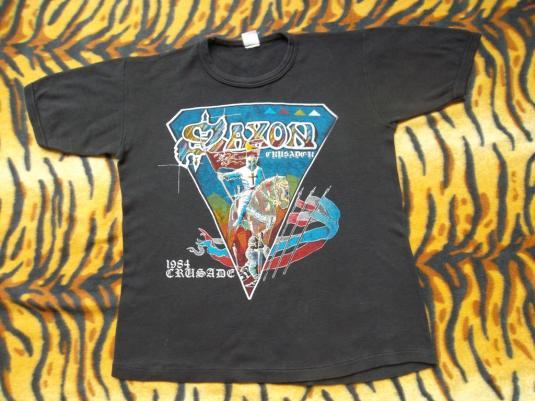 VINTAGE SAXON 1980s 1984 CRUSADER PROMO TOUR METAL T-SHIRT