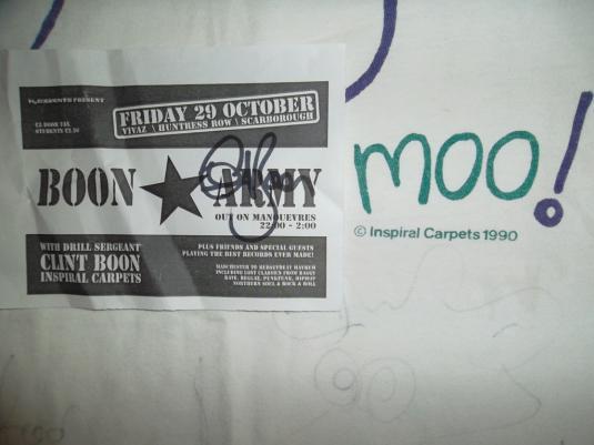 INSPIRAL CARPETS 'MOO' 1990 CLINT BOON SIGNED T-SHIRT