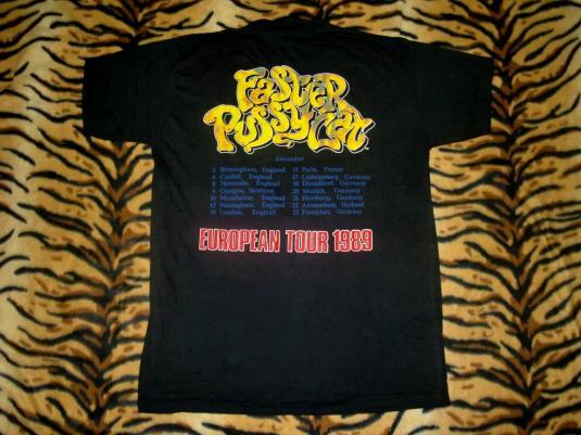 VINTAGE UNWORN FASTER PUSSYCAT 1989 EUROPEAN TOUR T-SHIRT