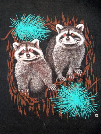 Vintage 1987 Animal Raccoon Travel T-shirt 50/50 Paper Thin