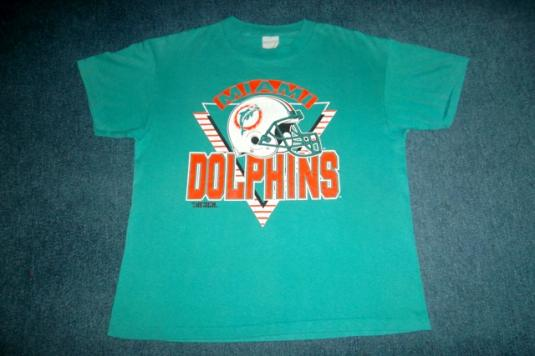 Vintage 1980s Miami Dolphins NFL Trench T-shirt