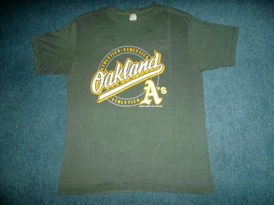 Vintage 1987 OAKLAND ATHLETICS Champion Blue Bar T-shirt