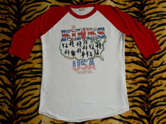 THE KINKS STATE OF CONFUSION USA 1983 TOUR JERSEY T-SHIRT