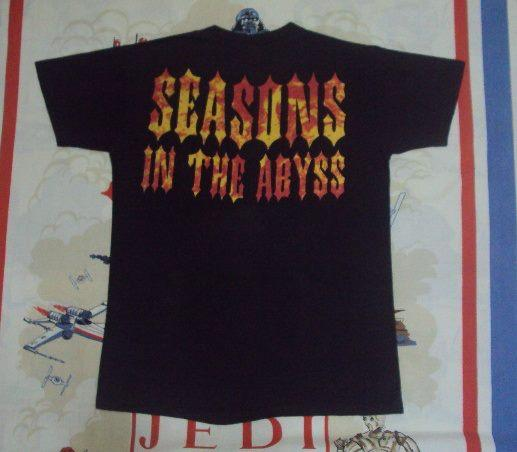 """VINTAGE 1990 SLAYER """"SEASONS IN THE ABYSS"""" PROMO T SHIRT"""