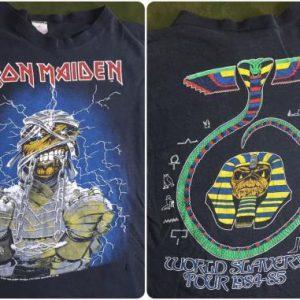Vintage 1984-85 Iron Maiden World Slavery Tour Thin T-Shirt