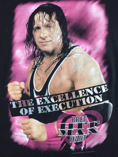 Vintage 1996 Bret Hit Man Hart WWF WWE Wrestling T-Shirt L