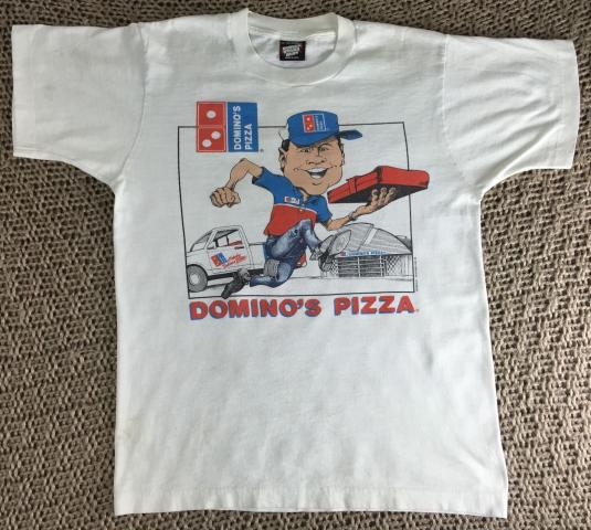 Vintage 1990 Domino's Pizza Delivery Graphic Logo T-Shirt