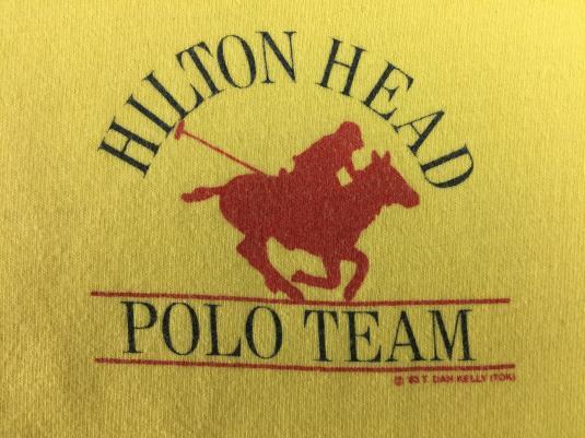 Vintage 1983 Hilton Head Polo Team Original Yellow T-Shirt