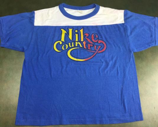 Vintage 80s Nike Country Semi Wasted Blue & White T-Shirt