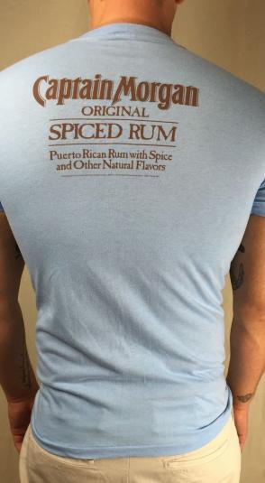 Vintage 80s Captain Morgan Spiced Rum Liquor Logo T-Shirt