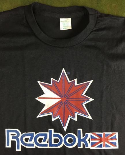 True Vintage 70s 80s Deadstock Reebok Logo Black T-Shirt M