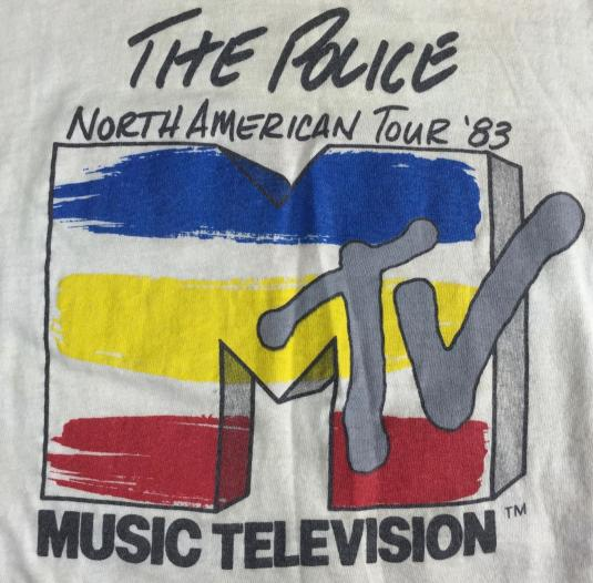 Vintage 1983 MTV The Police North American Tour T-Shirt