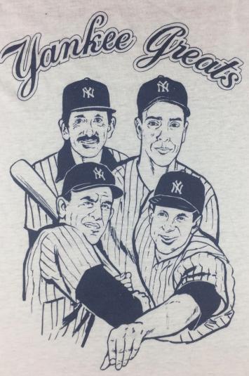 Vintage 70s 80s New York Yankee Greats DiMaggio Yogi T-Shirt
