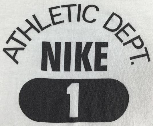 Vintage 80s Nike Athletic Dept Blue Tag Bright White T-Shirt