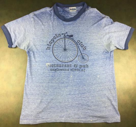 Vintage 80s Bicycle Club Restaurant Pub Threadbare T-Shirt