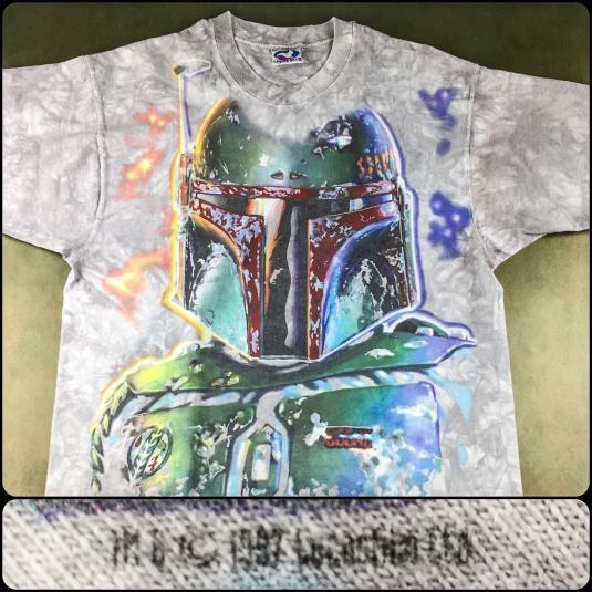 Vintage 1997 Star Wars Boba Fett Tie Dye All-Over T-Shirt