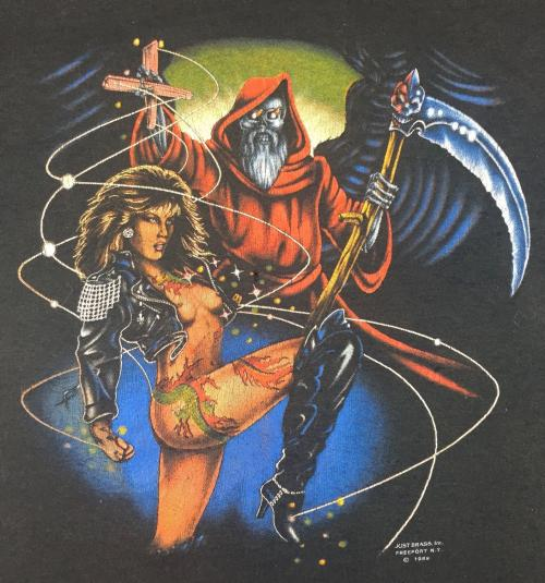 Vintage 1989 3D Emblem Graphic Biker Reaper Sexy T-Shirt
