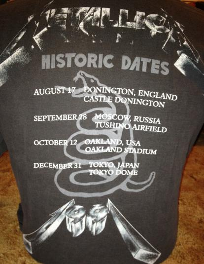 Metallica Historic Dates 1991 Tour Shirt