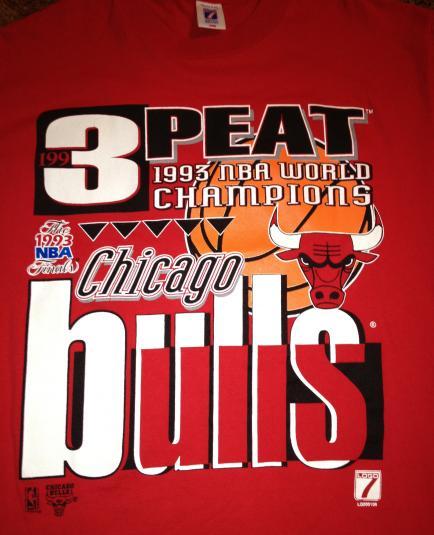 1993 Chicago Bulls Red 3 Peat shirt