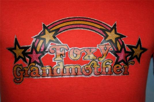 VINTAGE 80s FOXY GRANDMOTHER 50/50 Sparkle T-SHIRT