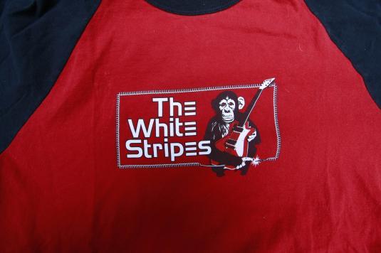 Vintage White Stripes Monkey With Guitar Raglan