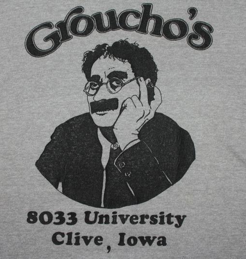 Groucho Marx Restaurant Clive Iowa vintage gray t-shirt L/XL