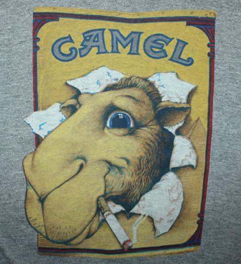 Joe Camel tri-blend rayon vtg 80s Sneakers gray t-shirt M/L