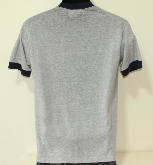 Gray and Navy possibly rayon vintage ringer t-shirt M/S
