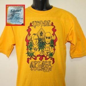 Marijuana Iowa American Gothic vtg yellow teee Tall S/M