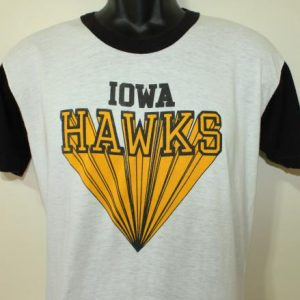 Iowa Hawks vintage 1980s white and black ringer t-shirt S/M