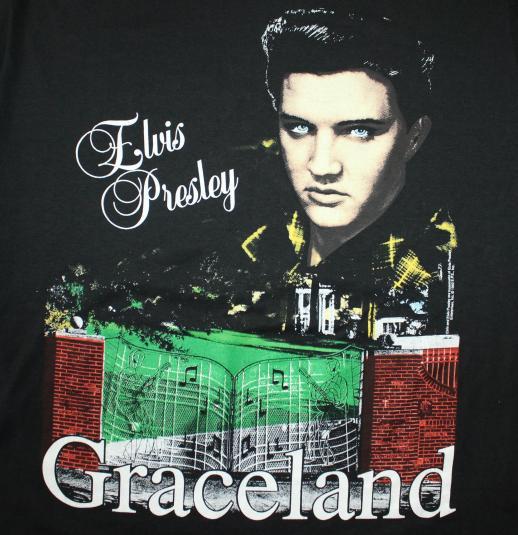 Elvis Presley Graceland vintage 1992 black Jerzees t-shirt L