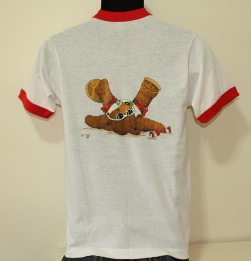 Beach Club Drunk Bear vintage 1986 ringer t-shirt Small