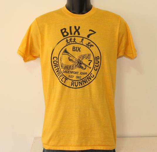 1982 Bix 7 Cornbelt Running Club vintage yellow t-shirt S/M