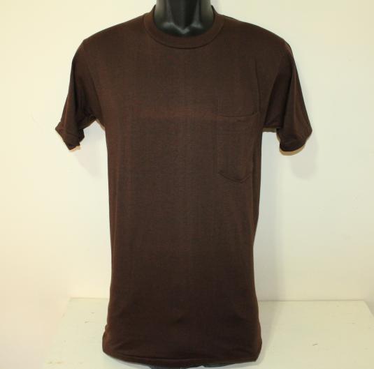 Healthknit vintage blank brown pocket tee t-shirt Tall XS