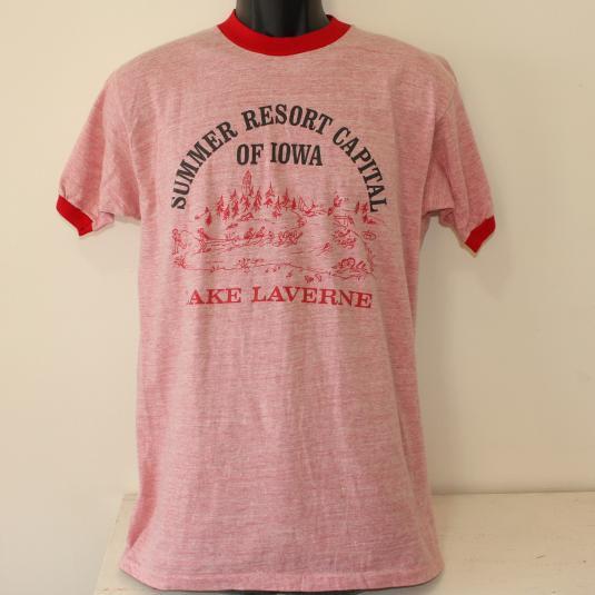 RAYON Lake LaVerne Iowa Resort vtg ringer t-shirt Tall M/L