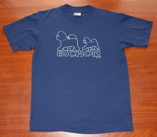 Bichon Dog 1992 vintage navy blue t-shirt Large
