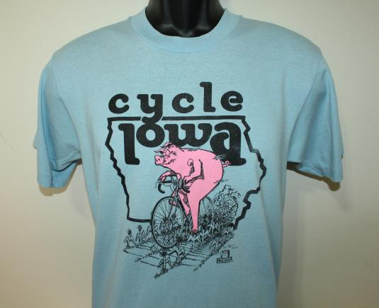 Cycle Iowa pig bicycle vintage Screen Stars t-shirt S 50/50