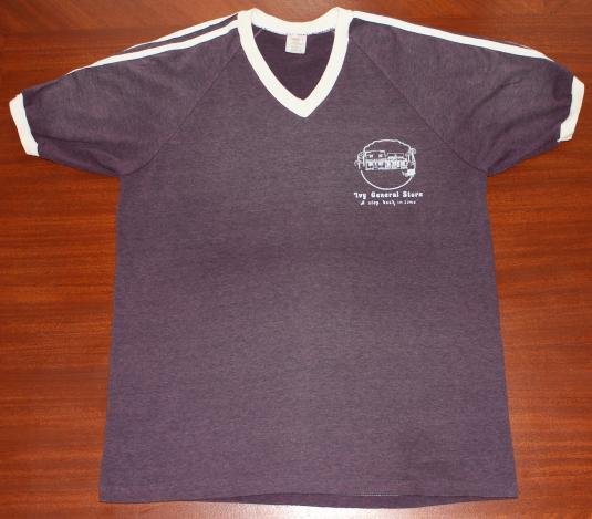 Ivy General Store vintage ringer v-neck t-shirt L