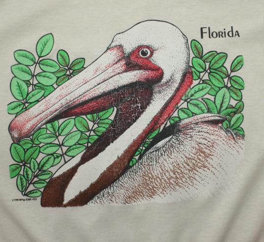 Florida Pelican 1989 vintage beige t-shirt Tall Medium