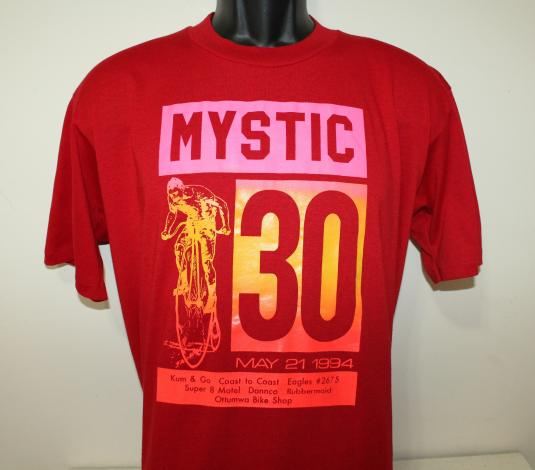 Mystic 30 penny farthing bicycle vtg 1994 red t-shirt L/XL