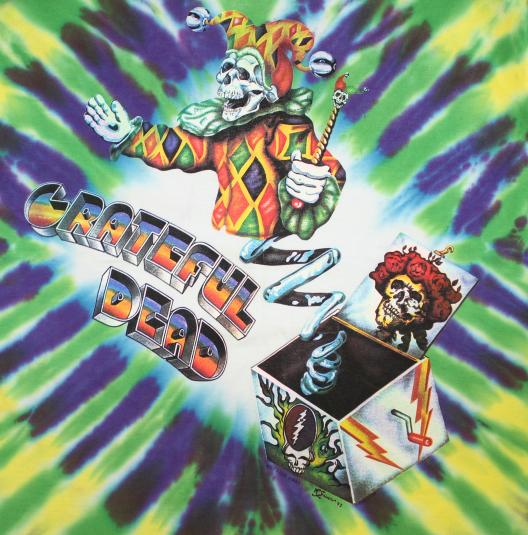 Grateful Dead Jack-in-the-box vtg tie-dye tee L 90s 1993
