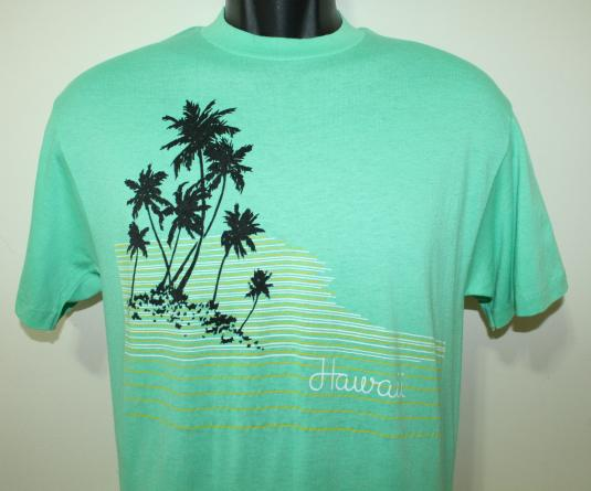 Hawaii palm trees vintage coral green t-shirt S/M