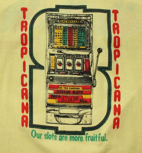 Tropicana Casino Las Vegas Slots vintage yellow t-shirt Smal