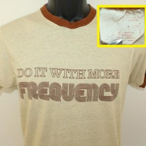 Sony Do It With More Frequency vtg ringer tee S beige brown