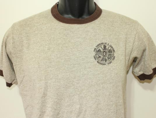 RAYON Massena Iowa 1986 vintage ringer t-shirt Small